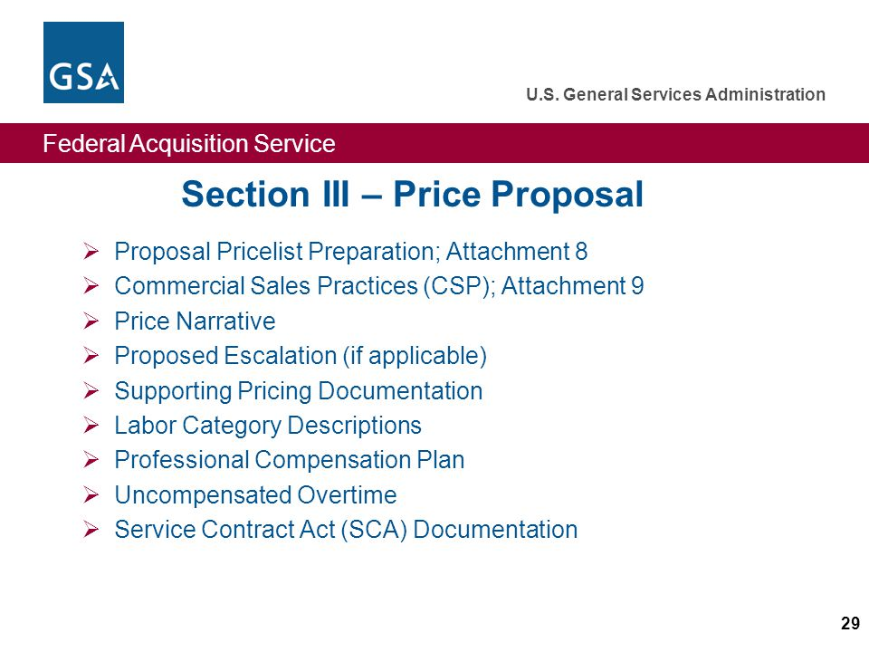 Federal Acquisition Service U.S. General Services Administration 29 Section III – Price Proposal Proposal Pricelist Preparation; Attachment 8 Commerci