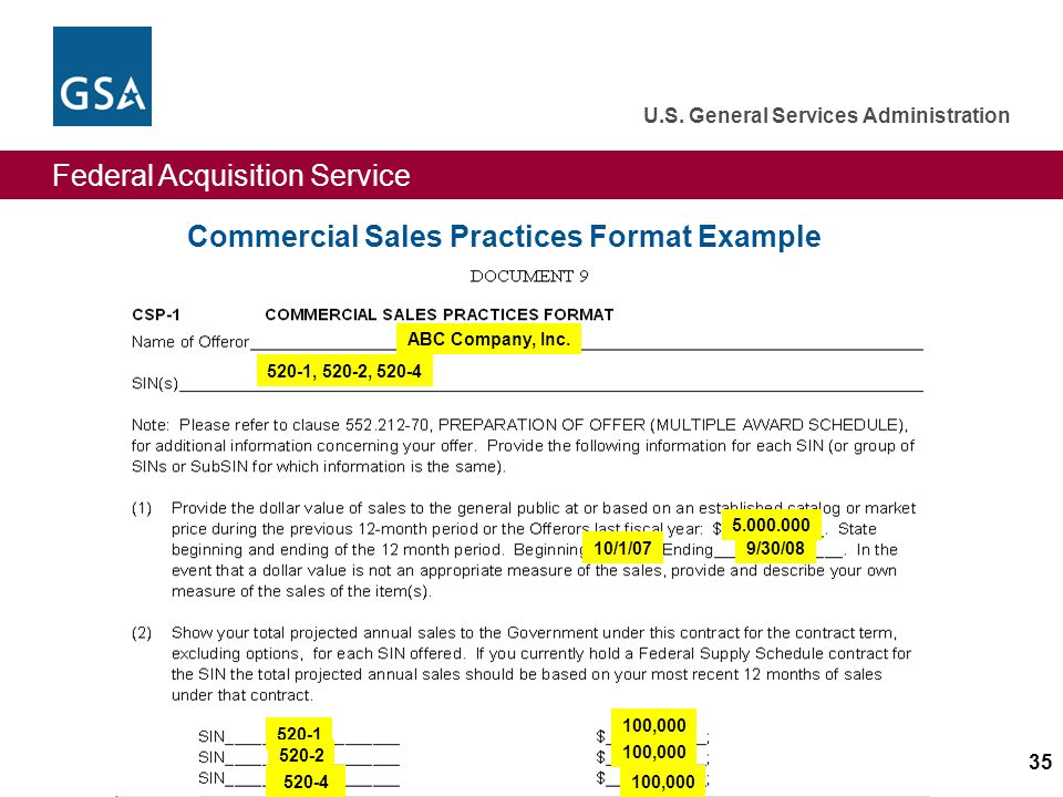 Federal Acquisition Service U.S. General Services Administration 35 Commercial Sales Practices Format Example ABC Company, Inc. 520-1, 520-2, 520-4 5,