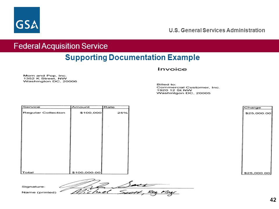 Federal Acquisition Service U.S. General Services Administration 42 Supporting Documentation Example
