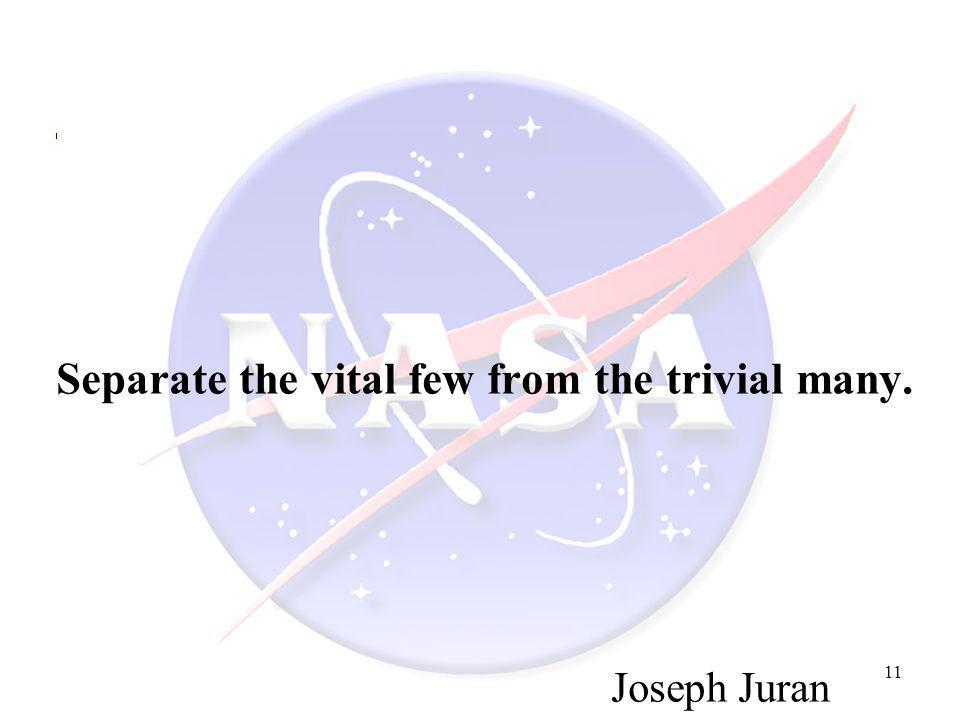 11 Separate the vital few from the trivial many. Joseph Juran