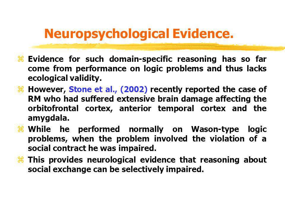 Neuropsychological Evidence.