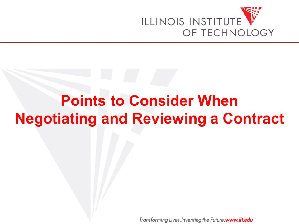 Points to Consider When Negotiating and Reviewing a Contract