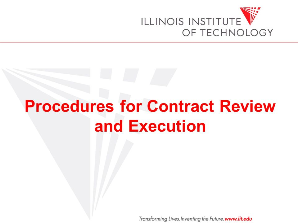 Procedures for Contract Review and Execution