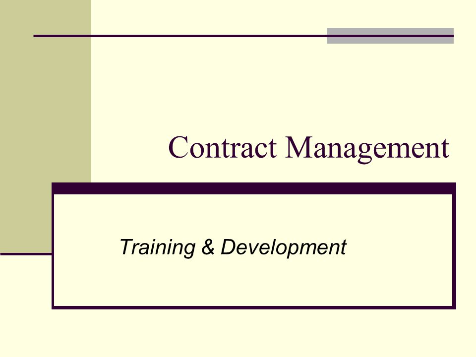 Training & Development Contract Management