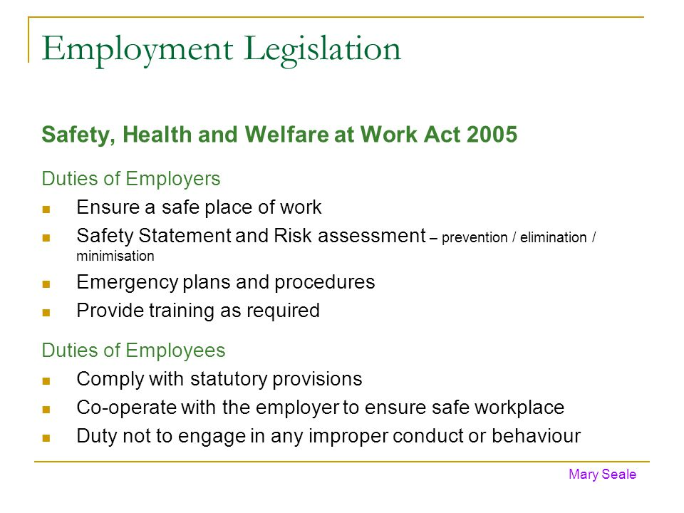 Employment Legislation Safety, Health and Welfare at Work Act 2005 Duties of Employers Ensure a safe place of work Safety Statement and Risk assessment – prevention / elimination / minimisation Emergency plans and procedures Provide training as required Duties of Employees Comply with statutory provisions Co-operate with the employer to ensure safe workplace Duty not to engage in any improper conduct or behaviour Mary Seale