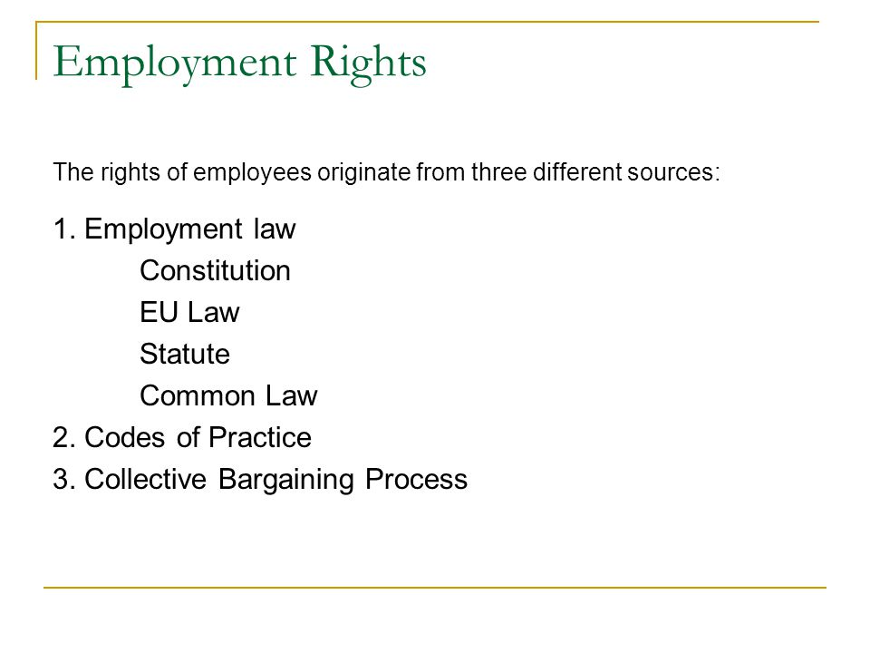 Employment Rights The rights of employees originate from three different sources: 1.