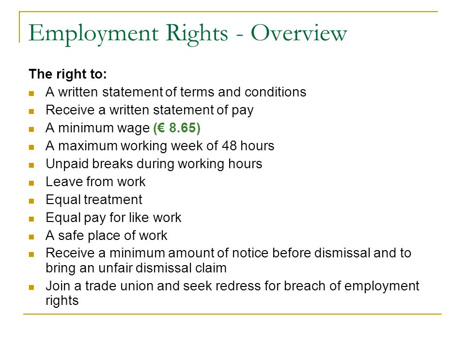 Employment Rights Statutory leave entitlements: Maternity leave Maternity Protection Acts 1994 – 2004 Adoptive leave Adoptive Leave Act 1995 - 2005 Parental leave Parental Leave Acts 1998 – 2006 March 2013: European Union Regulations.