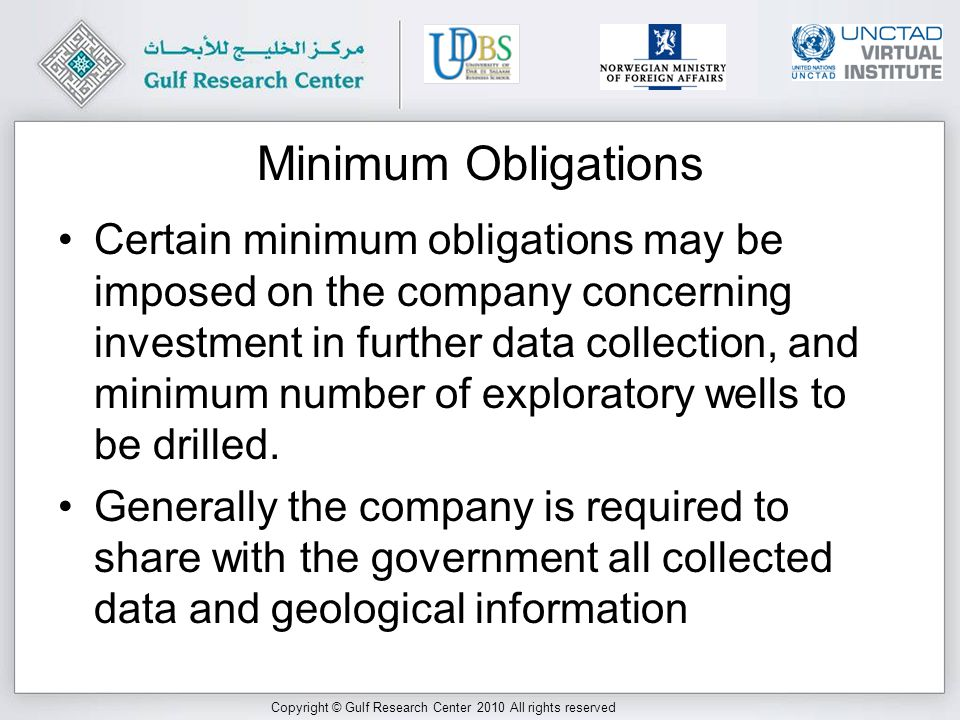 Copyright © Gulf Research Center 2010 All rights reserved Booking Reserves (2) The same consideration is not important for service companies: indeed the difference between a service company and an oil company is that the former is not expected to have reserves Some service contracts have envisaged payment in kind (a stream of oil), and allowed companies to book virtual reserves accordingly