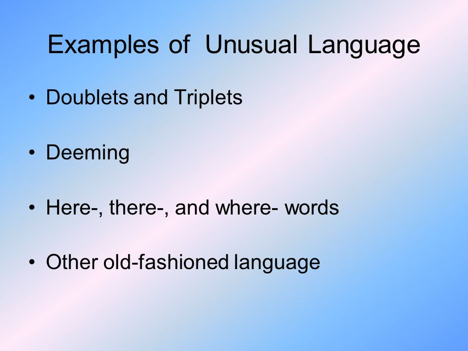Examples of Unusual Language Doublets and Triplets Deeming Here-, there-, and where- words Other old-fashioned language
