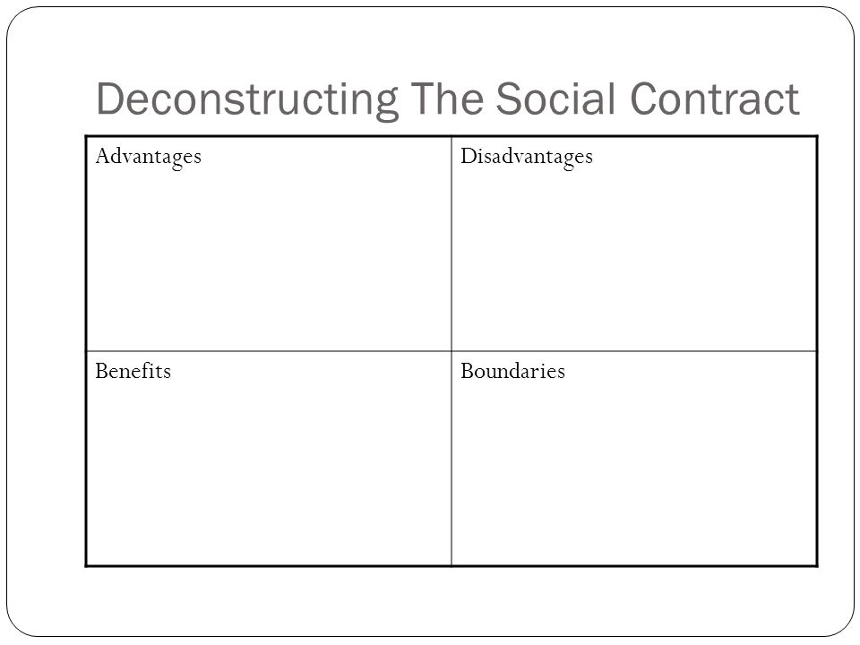 Deconstructing The Social Contract AdvantagesDisadvantages BenefitsBoundaries