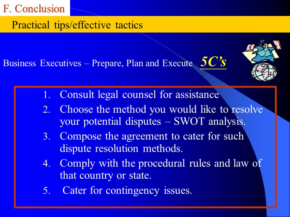 F. Conclusion 1. Consult legal counsel for assistance 2. Choose the method you would like to resolve your potential disputes – SWOT analysis. 3. Compo