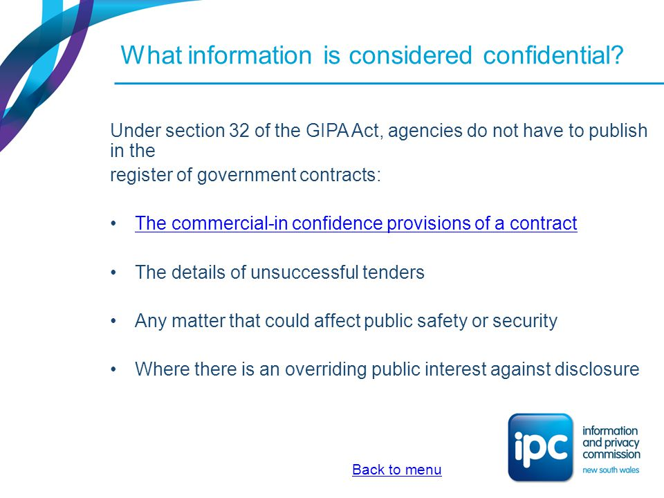 What are the commercial-in-confidence provisions of a contract.