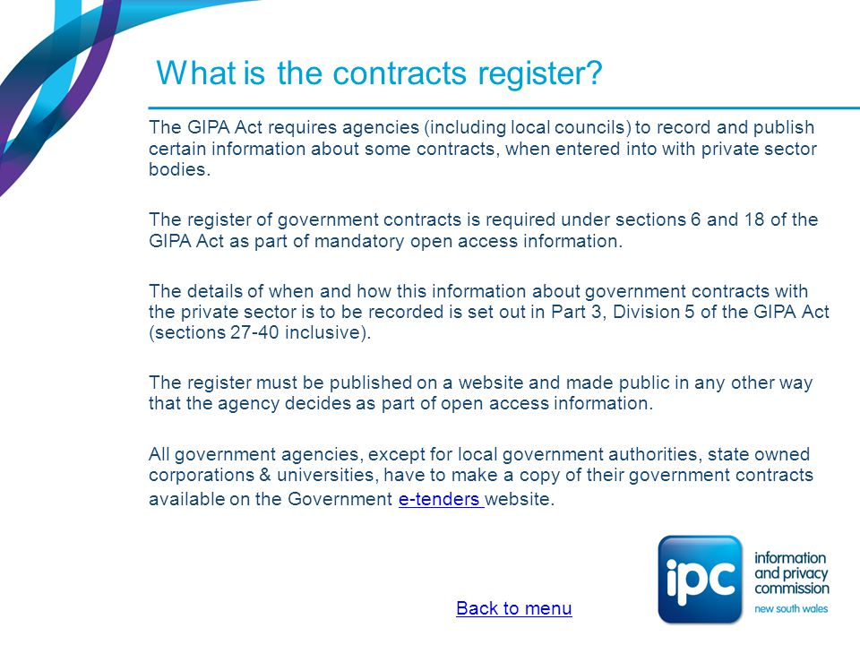 What is the contracts register continued.
