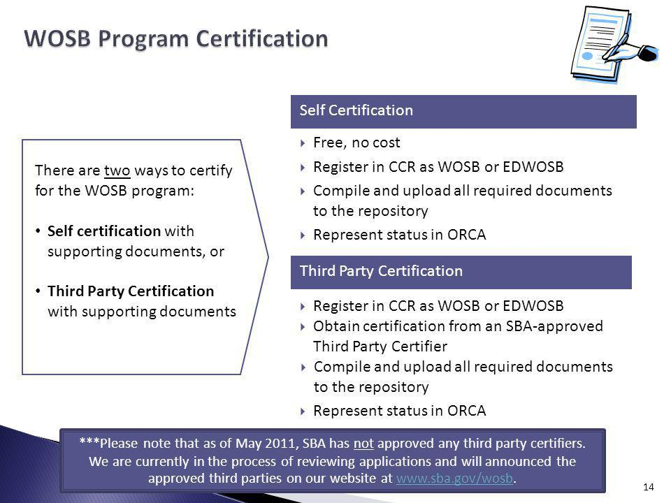 14 Self Certification Third Party Certification Free, no cost Register in CCR as WOSB or EDWOSB Compile and upload all required documents to the repository Represent status in ORCA Register in CCR as WOSB or EDWOSB Obtain certification from an SBA-approved Third Party Certifier Compile and upload all required documents to the repository Represent status in ORCA There are two ways to certify for the WOSB program: Self certification with supporting documents, or Third Party Certification with supporting documents ***Please note that as of May 2011, SBA has not approved any third party certifiers.