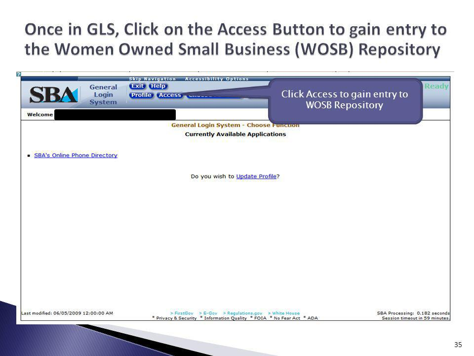 Click Access to gain entry to WOSB Repository 35