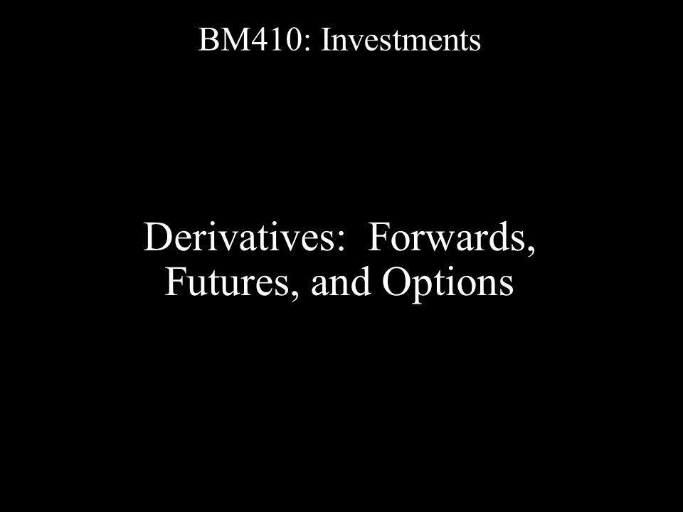 Objectives A.Understand derivatives B. Understand the basics and terminology of Forwards C.