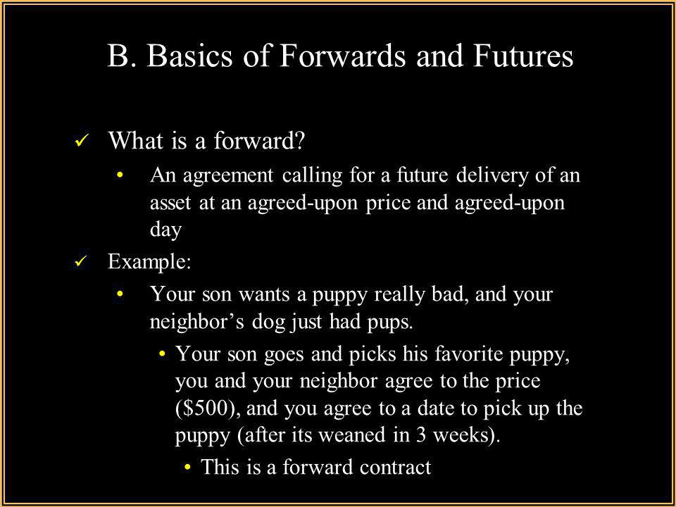 Forwards (continued) Now assume the price, between when you made the agreement and when you were to pick up the puppy changed.