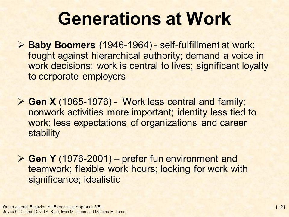 Generations at Work Baby Boomers (1946-1964) - self-fulfillment at work; fought against hierarchical authority; demand a voice in work decisions; work