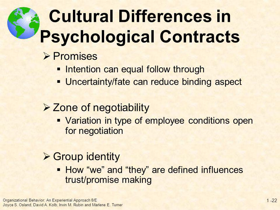 Cultural Differences in Psychological Contracts Promises Intention can equal follow through Uncertainty/fate can reduce binding aspect Zone of negotia