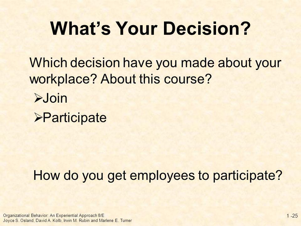 Whats Your Decision? Which decision have you made about your workplace? About this course? Join Participate How do you get employees to participate? O