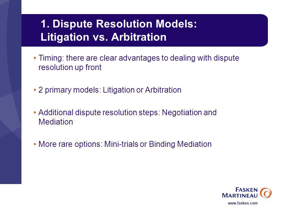 1. Dispute Resolution Models: Litigation vs.