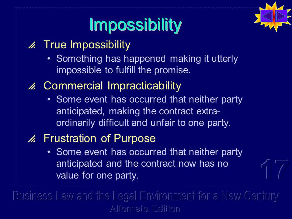 Impossibility True Impossibility Something has happened making it utterly impossible to fulfill the promise.