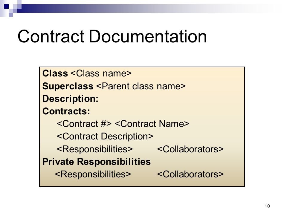 10 Contract Documentation Class Superclass Description: Contracts: Private Responsibilities