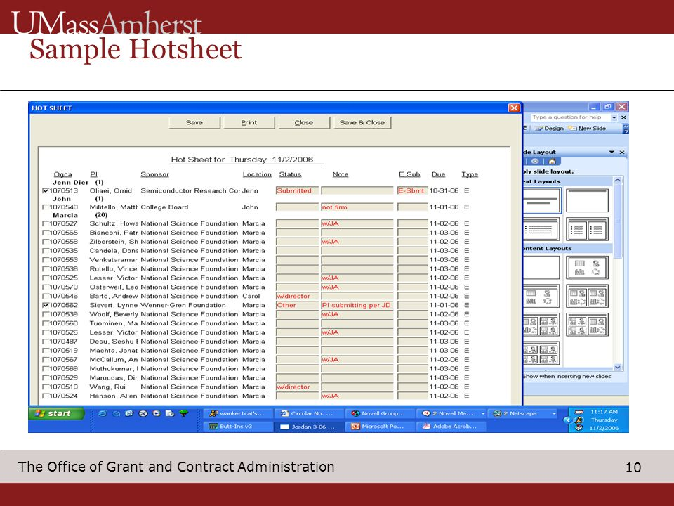 10 The Office of Grant and Contract Administration Sample Hotsheet