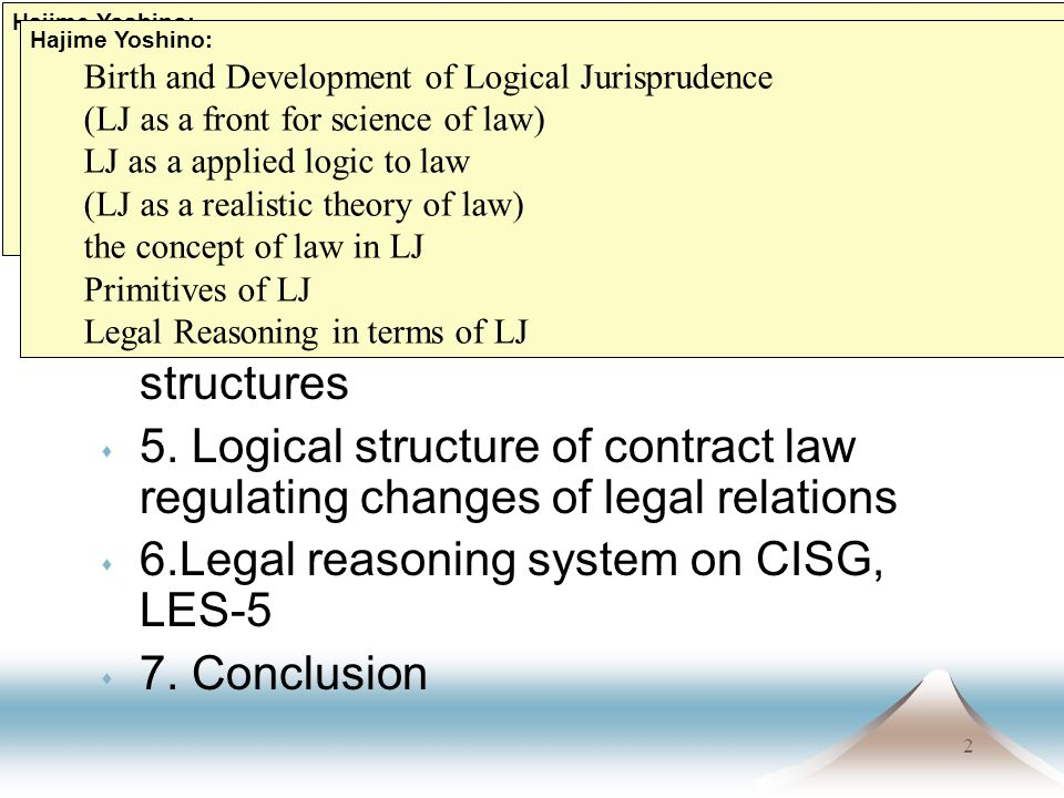 2 Contents s 1. Introduction s 2. Case, query and solution s 3. What is Logical Jurisprudence s 4. Basic legal sentence concepts and structures s 5. L