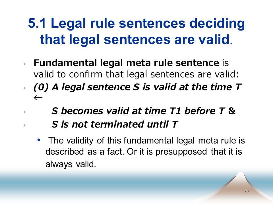 35 5.1 Legal rule sentences deciding that legal sentences are valid. Fundamental legal meta rule sentence is valid to confirm that legal sentences are