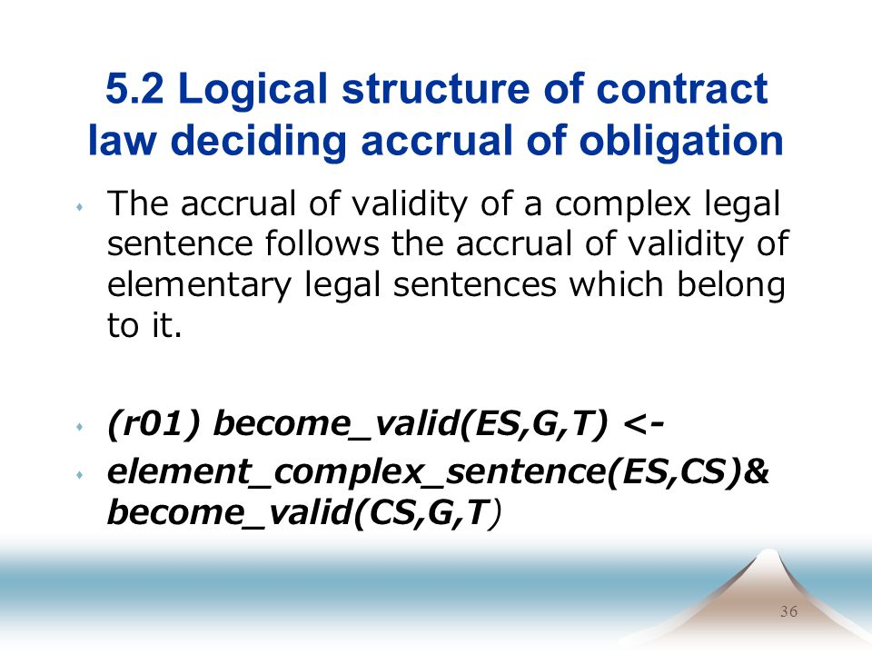 36 5.2 Logical structure of contract law deciding accrual of obligation The accrual of validity of a complex legal sentence follows the accrual of val