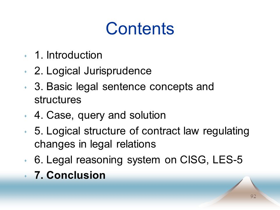 92 Contents s 1. Introduction s 2. Logical Jurisprudence s 3.
