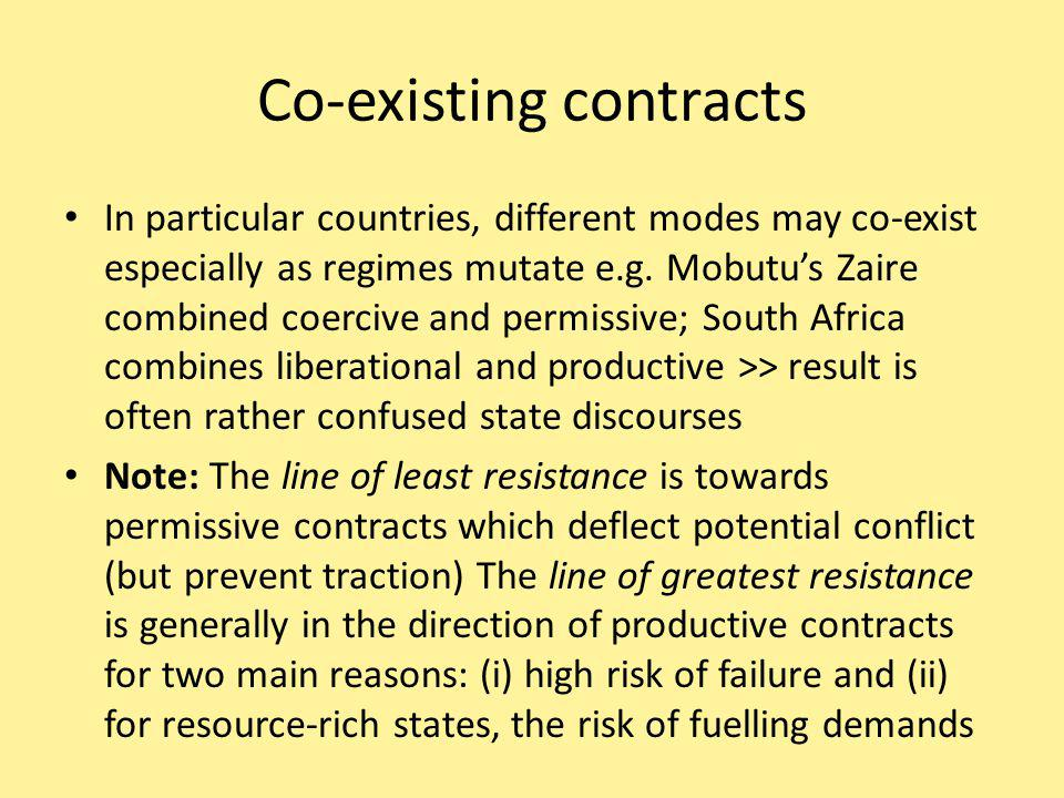 Co-existing contracts In particular countries, different modes may co-exist especially as regimes mutate e.g.