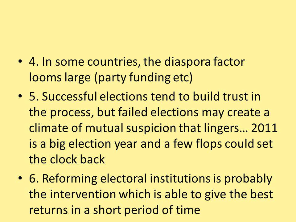 4. In some countries, the diaspora factor looms large (party funding etc) 5.