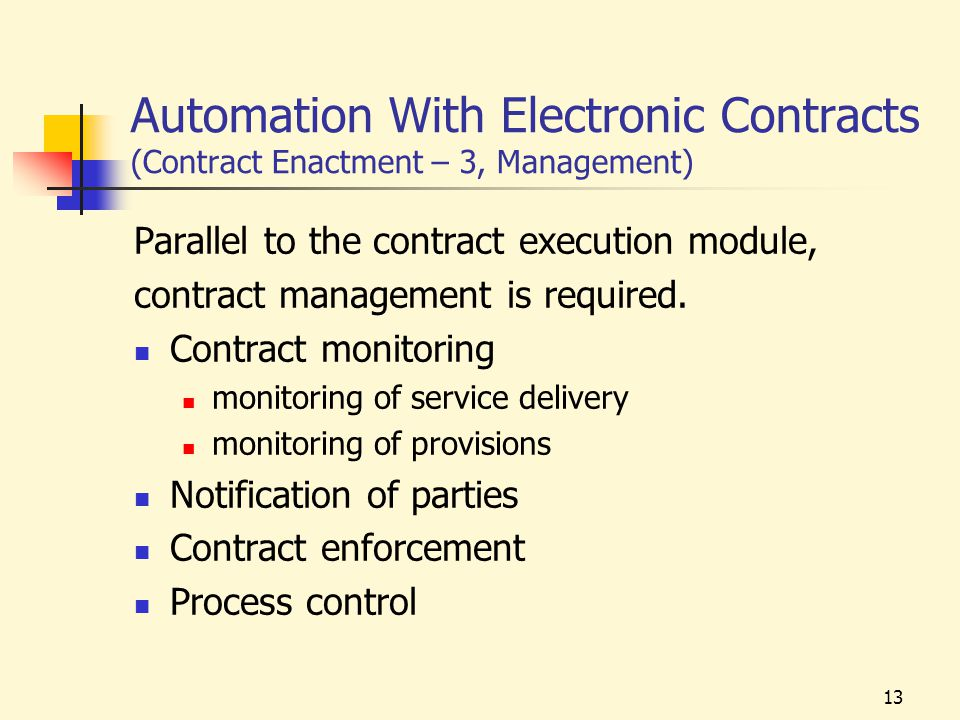 13 Automation With Electronic Contracts (Contract Enactment – 3, Management) Parallel to the contract execution module, contract management is required.