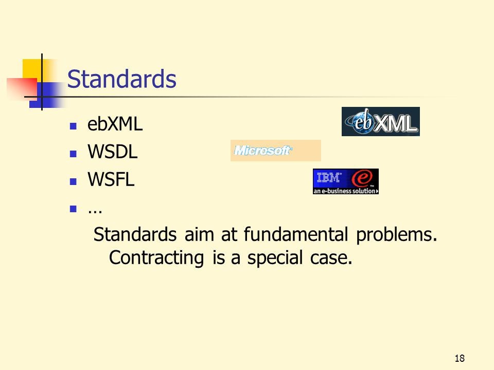 18 Standards ebXML WSDL WSFL … Standards aim at fundamental problems.