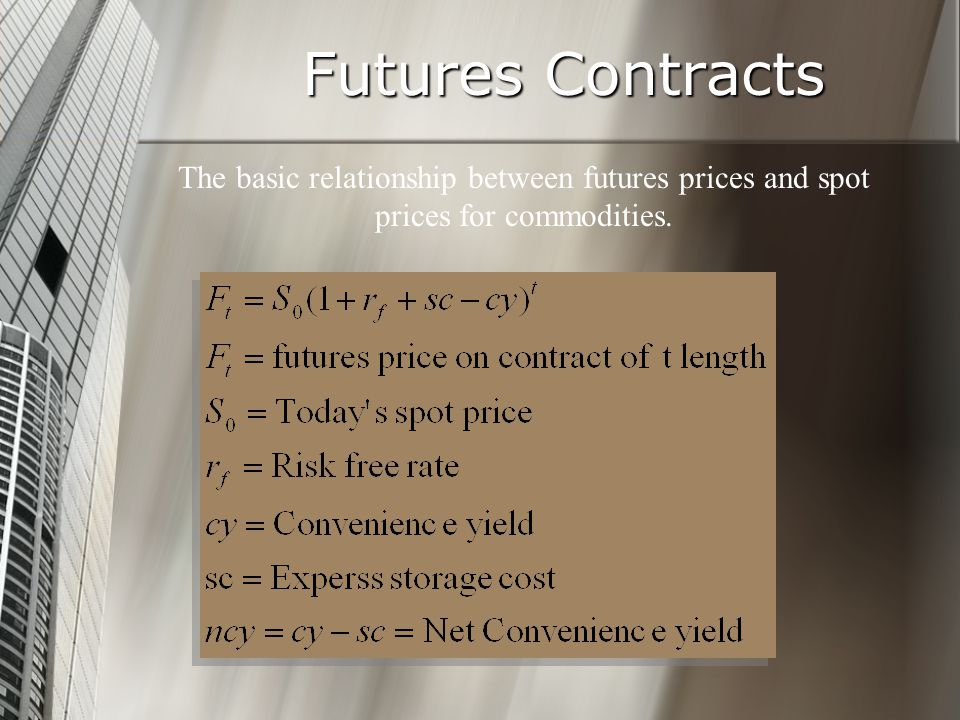 Futures Contracts The basic relationship between futures prices and spot prices for commodities.