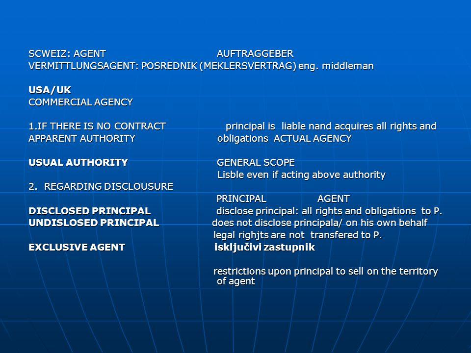 SCWEIZ: AGENT AUFTRAGGEBER VERMITTLUNGSAGENT: POSREDNIK (MEKLERSVERTRAG) eng.