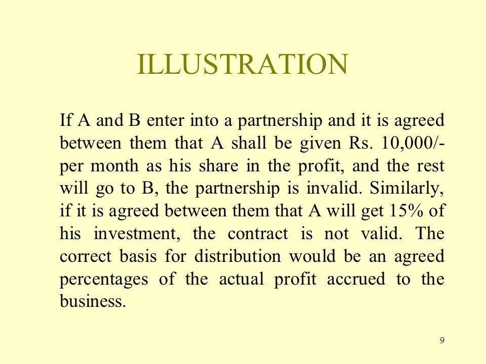9 ILLUSTRATION If A and B enter into a partnership and it is agreed between them that A shall be given Rs.