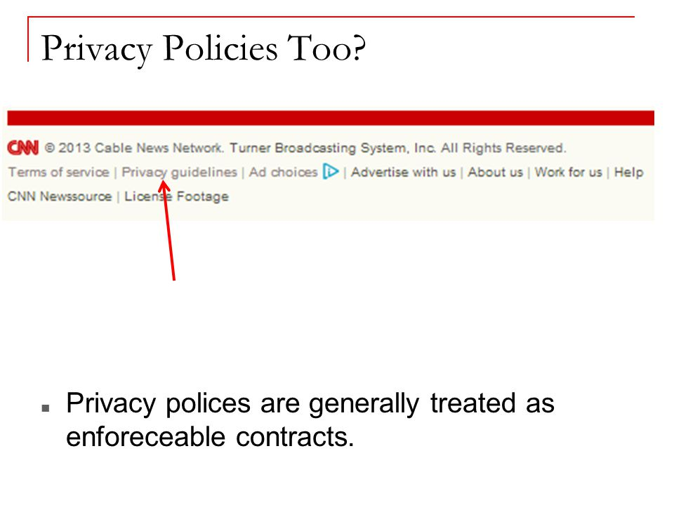 Privacy Policies Too Privacy polices are generally treated as enforeceable contracts.