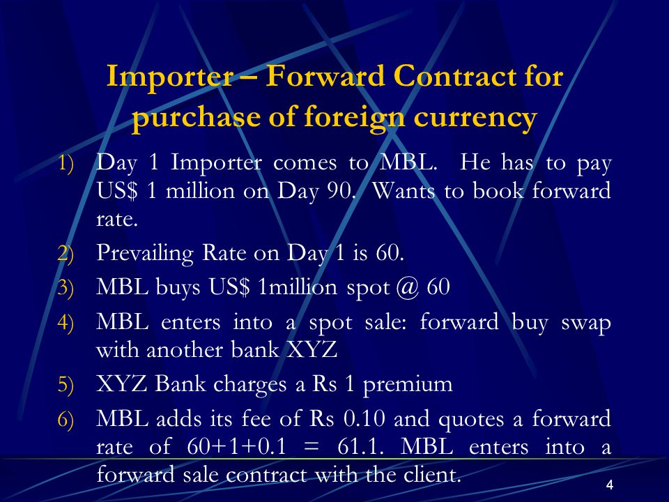 4 Importer – Forward Contract for purchase of foreign currency 1) Day 1 Importer comes to MBL. He has to pay US$ 1 million on Day 90. Wants to book fo