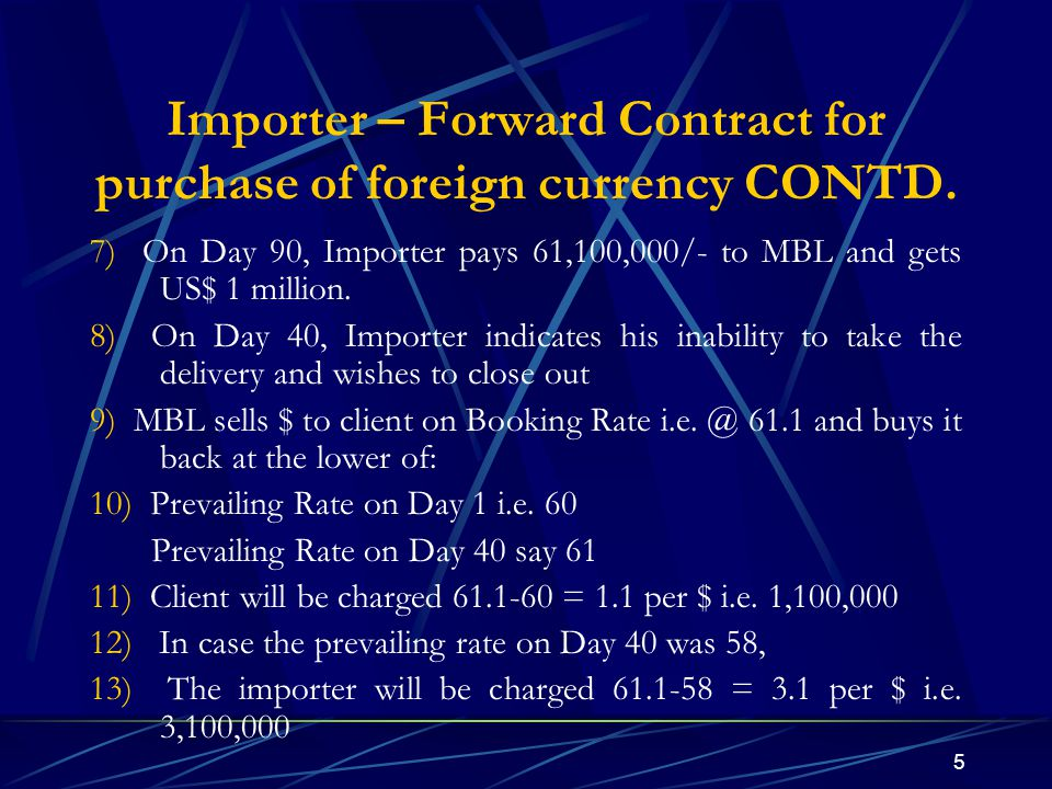 5 Importer – Forward Contract for purchase of foreign currency CONTD. 7) On Day 90, Importer pays 61,100,000/- to MBL and gets US$ 1 million. 8) On Da