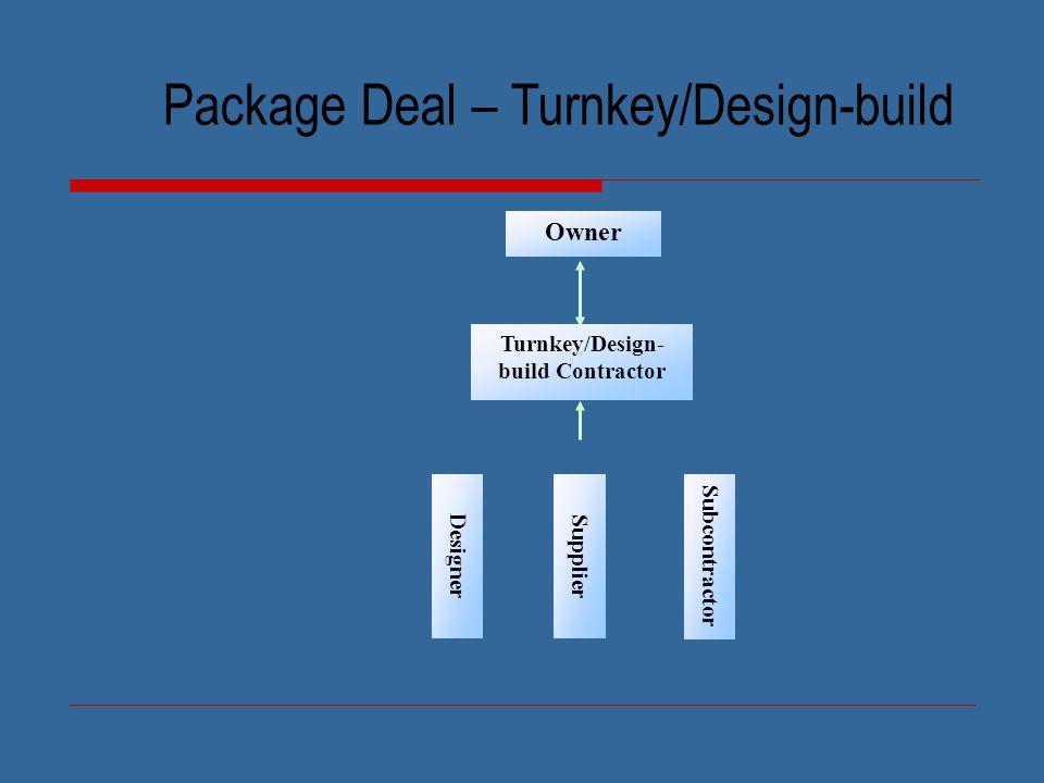 Package Deal – Turnkey/Design-build Owner Designer Supplier Subcontractor Turnkey/Design- build Contractor