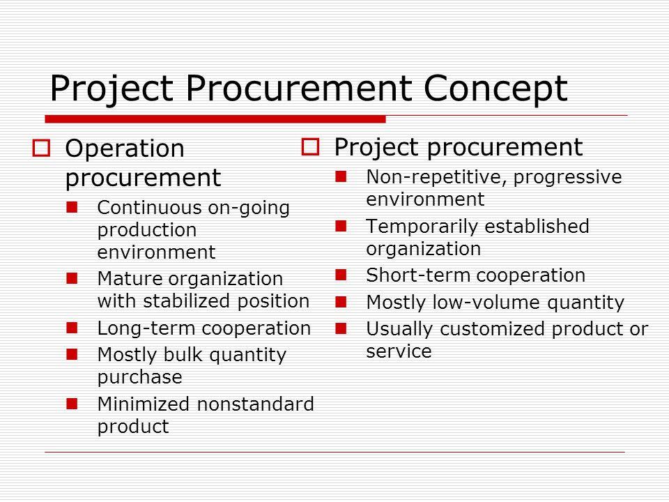Project Procurement Concept Operation procurement Continuous on-going production environment Mature organization with stabilized position Long-term co