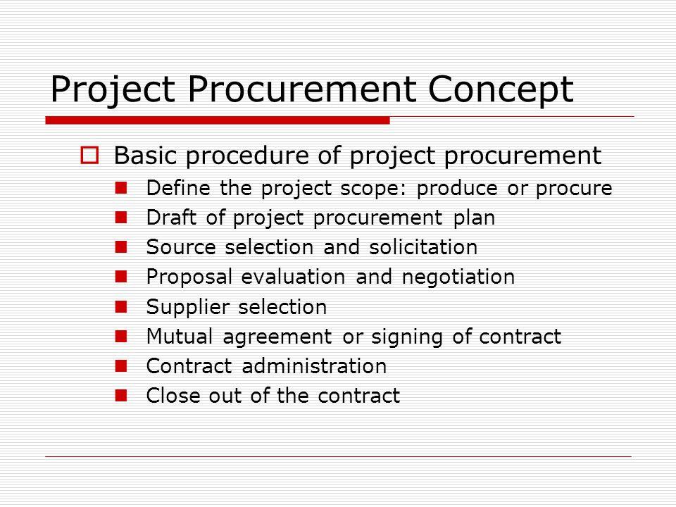 Project Procurement Concept Basic procedure of project procurement Define the project scope: produce or procure Draft of project procurement plan Sour