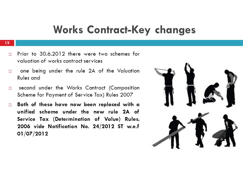 Works Contract-Key changes 12 Prior to 30.6.2012 there were two schemes for valuation of works contract services one being under the rule 2A of the Va