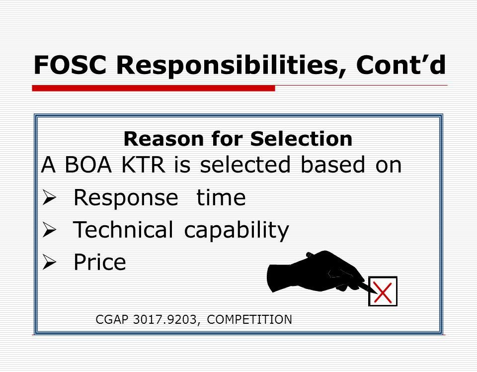 FOSC Responsibilities Contd