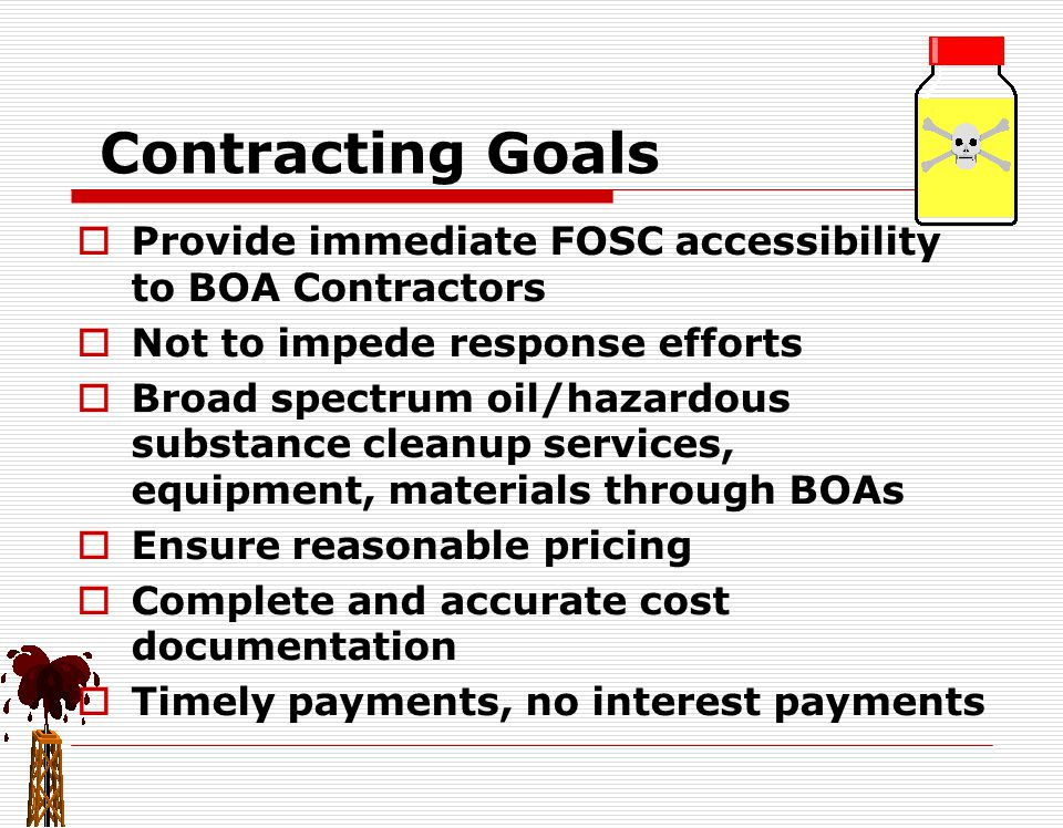 FOSC Responsibilities Contd Hiring two BOA contractors… Issue separate ATPs under same FPN Each contractor works directly for FOSC Cost savings (no administrative fee) Ensures contractors offer BOA rates Each contractor shall monitor their ceiling FOSC monitors each ceiling separately