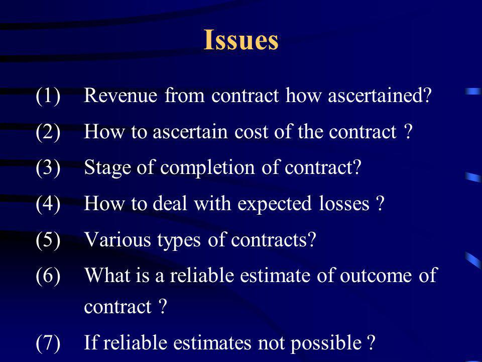 Year wise allocation Contract revenue Contract cost Stage of completion