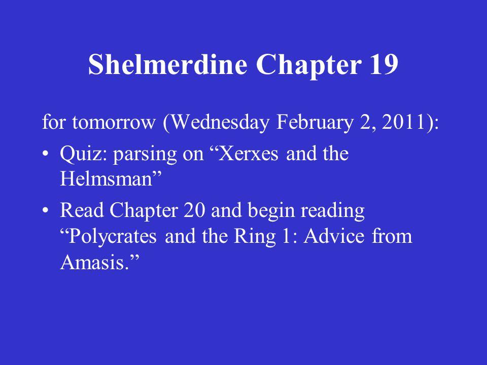 Shelmerdine Chapter 19 for tomorrow (Thursday February 3, 2011): Quiz: Chapter 19 Vocabulary.